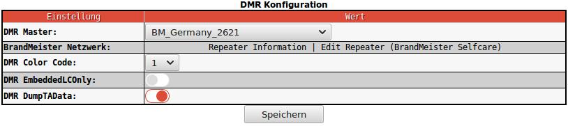 In diesem Feld wird der DMR Master definiert. es stehen mehrere zur anwahl unter Brandmeister oder DMR+ . Im DMR+ Netzwerk kann zusätzlich noch eine Option angegeben werden. Zum Beispiel <strong><em>StartRef=4003; RelinkTime=20;</em></strong> . Mit dieser Einstellung startet DMR+ im Reflektor 4003 oder schaltet nach 20 Minuten Inaktivität in den Start Reflektor zurück.