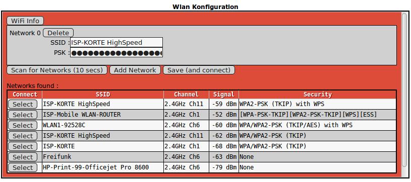Am Scan for Networks wird das vorhandene Umfeld nach Netzwerken durchsucht. Über den Knopf Select kann das Heimnetzwerk, über das der Hotspot betrieben werden soll , ausgewählt werden.