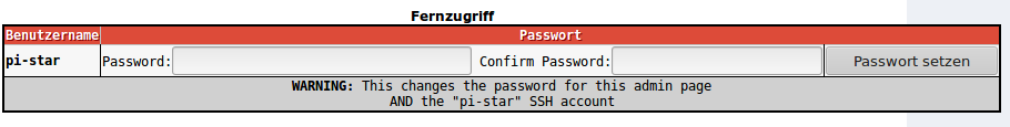 Für den Fernzugriff auch im Hauseigenen Netzwerk oder über eine Port Weiterleitung ist der Raspberry Pi als User pi-star über Web und SSH erreichbar. Für die Sicherheit sollte das Voreingestellte Passwort raspberry möglichst schnell geändert werden.